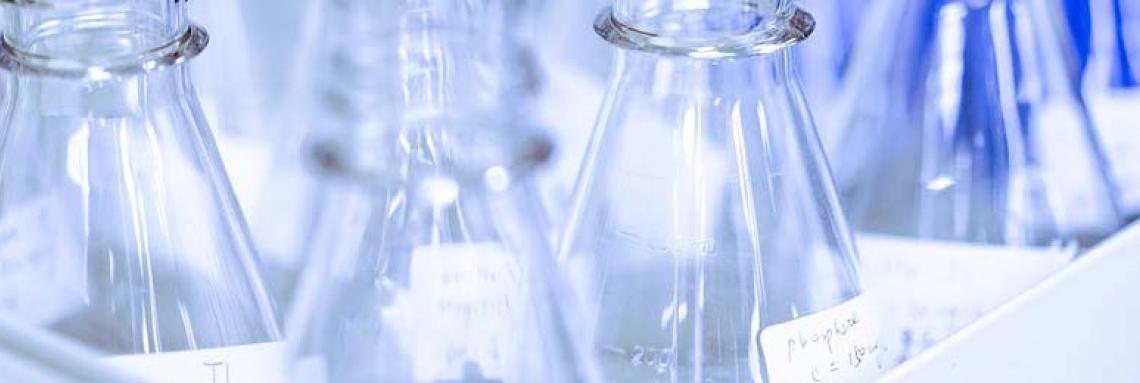 Close-up of beakers.